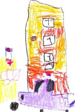 children drawing - urban house