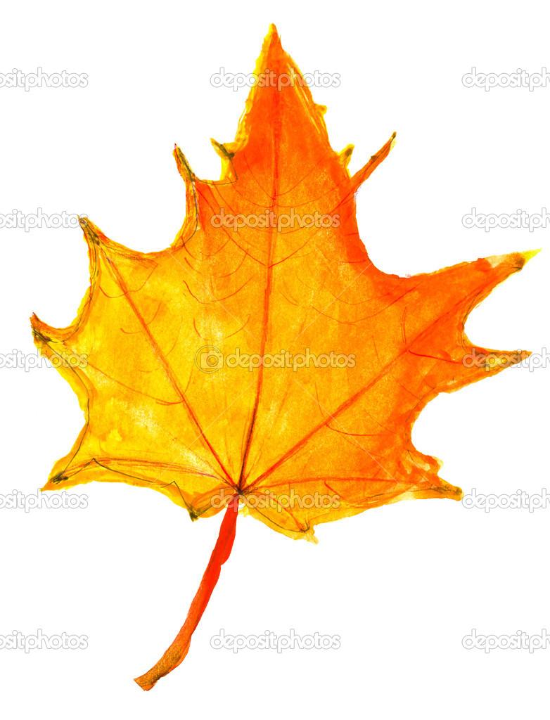 Kinder Zeichnung Herbst Gelbe Ahornblatt Stockfoto C Vvoennyy