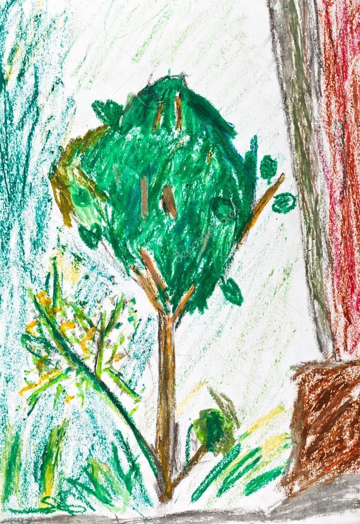 children drawing - green tree