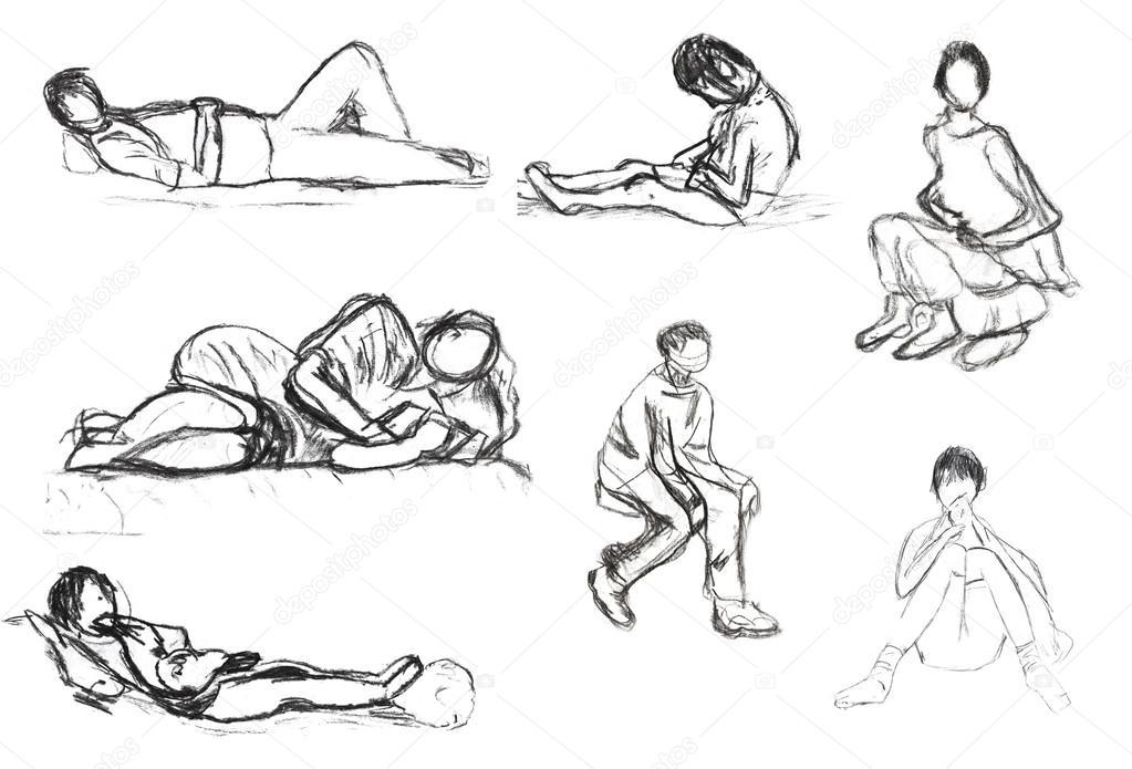 Kinder zeichnen skizzen von menschen wegen stockfoto for Sofa zeichnen kinder