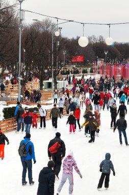 Crowds of townspeople skating rink