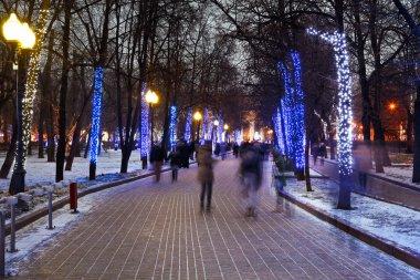 Night illumination of Moscow boulevard