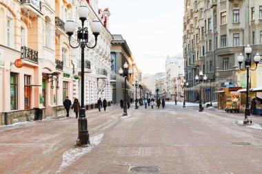 historical pedestrian Arbat street in Moscow