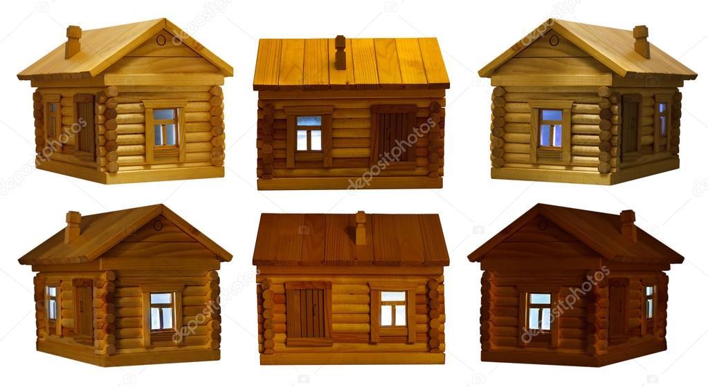 views of village wooden log house at night
