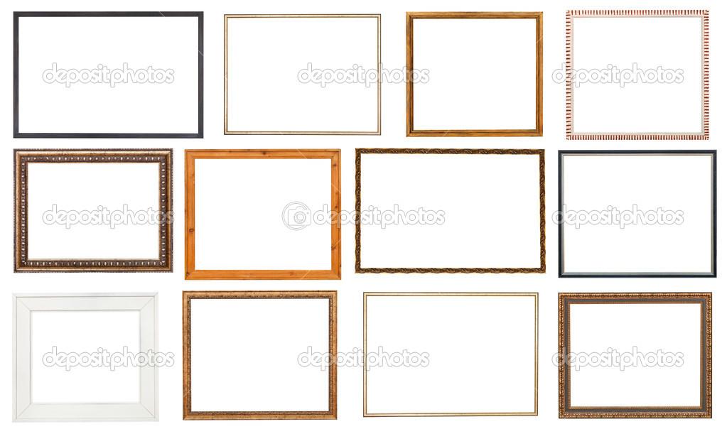 Set aus Holz-Bilderrahmen mit ausgeschnitten Leinwand — Stockfoto ...