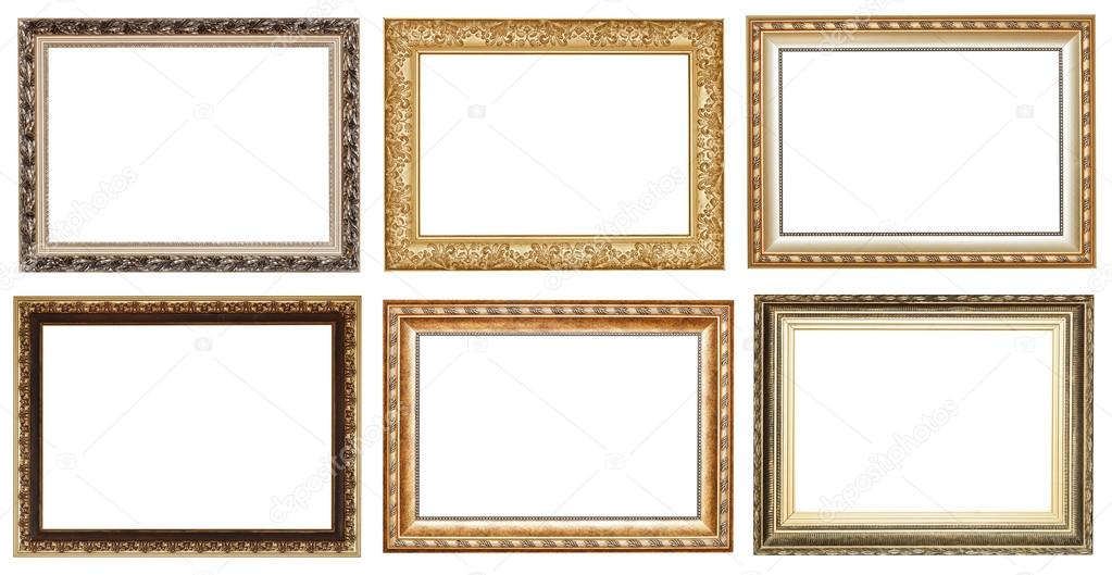 conjunto de marcos de madera antiguos ancho oro — Foto de stock ...