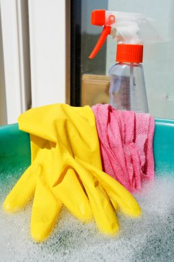 Rubber glove, wet cloth, spray bottle, soapy water