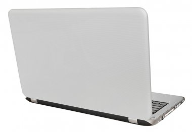 back view of open laptop display cover