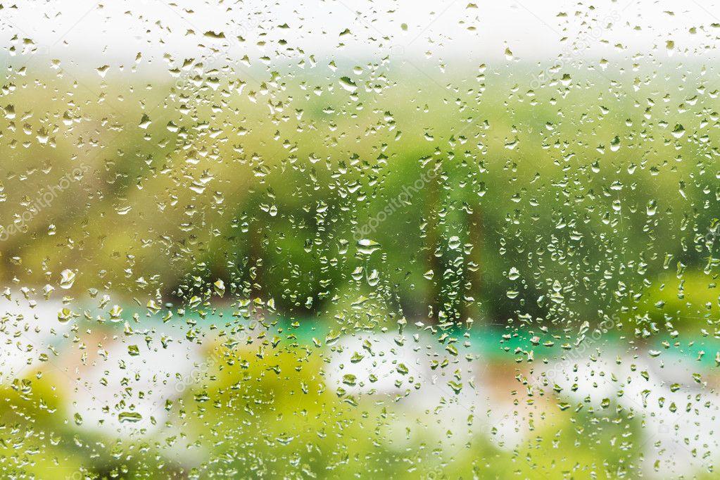 rain drops on window glass in summer day