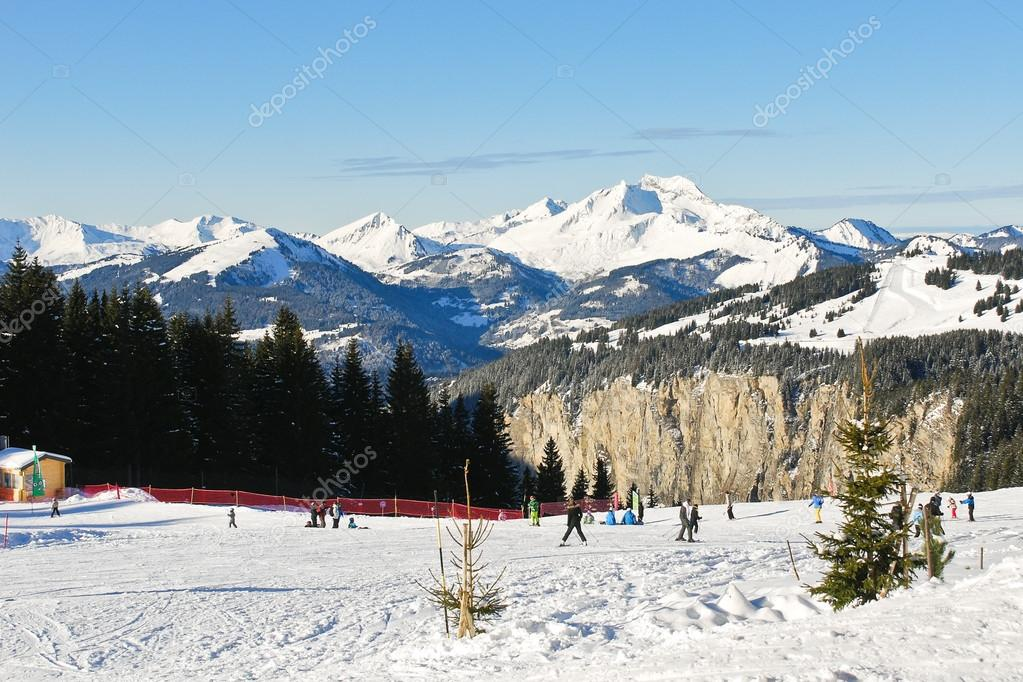 Skiing tracks on snow in Portes du Soleil area