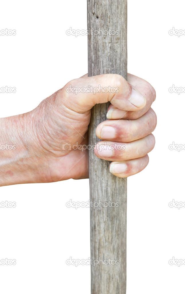 hombre mano sostiene palo de madera antiguo — Fotos de Stock ...