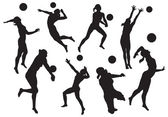 Photo vector silhouettes of womens beach volleyball