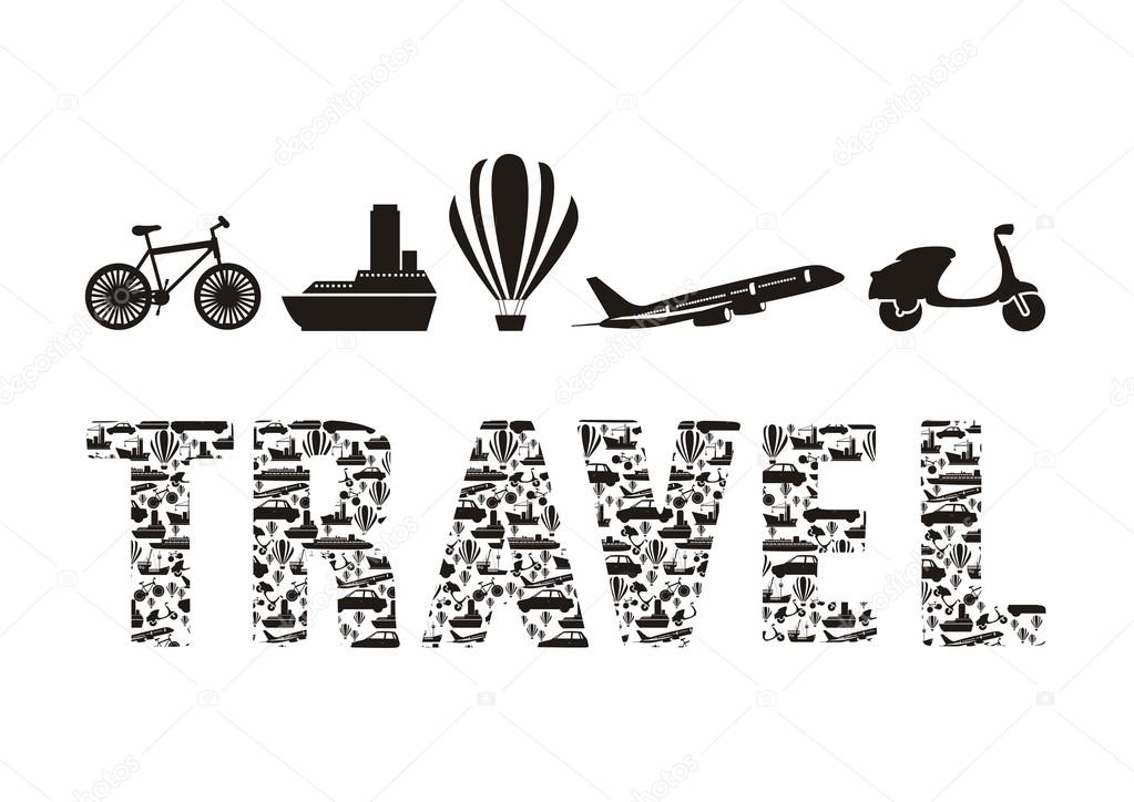 Illustration Of The Word Travel Stock Vector