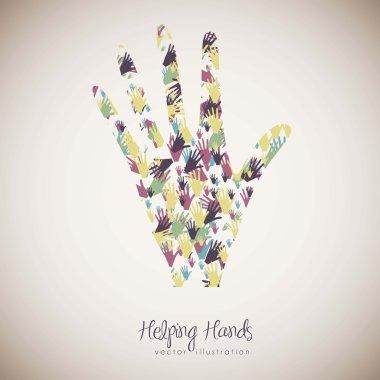 illustration of many color hands