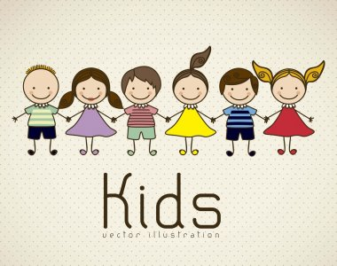 Illustration of kids icons, kids groups, vector illustration clip art vector