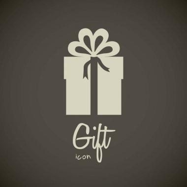 Illustration of gift icon, silhouette gift box, vector illustration clip art vector
