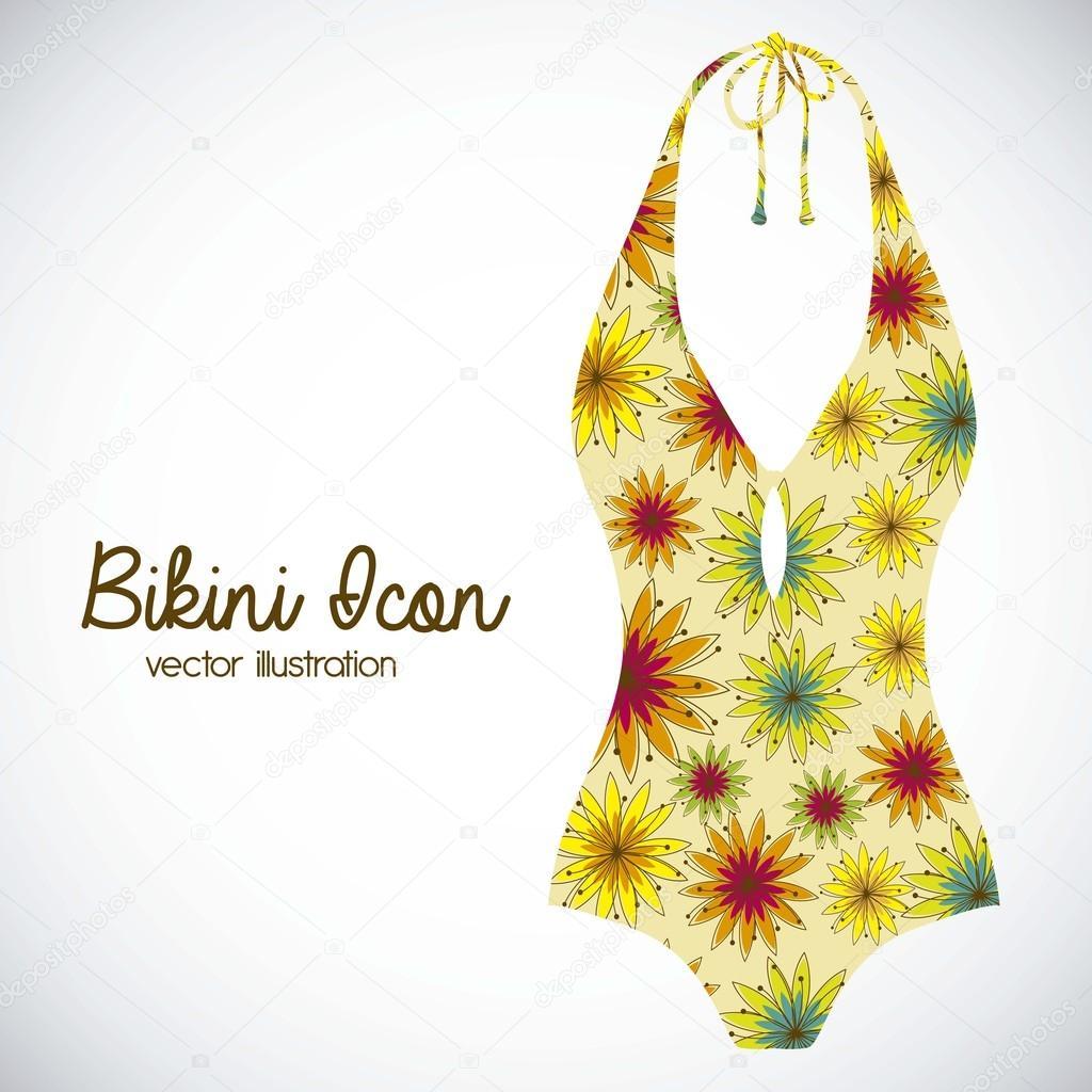 0fa99530034 Dibujo de iconos de bikini. una sola pieza traje de baño. ilustración  vectorial — Vector de ...