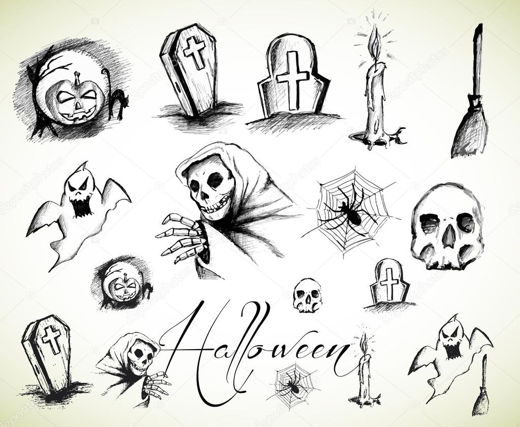 Halloween drawings collection — Stock Vector © lussoadv #32823045