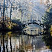 Fotografie podzim - Starý most v podzimním mlhavé parku
