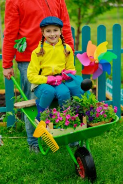 Gardening, planting - girl in barrow helping father