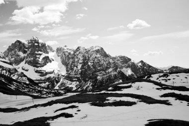 Ski slope in the Dolomites mountain, closed ski run