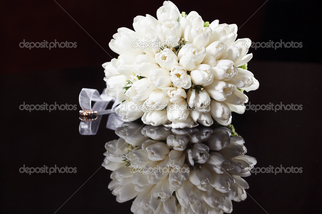 White Wedding Bouquet On A Black Background Stock Photo 26932995