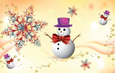 Winter celebration background with snoflake and snowman stock vector