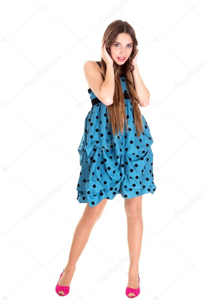 Vestido azul a lunares blancos