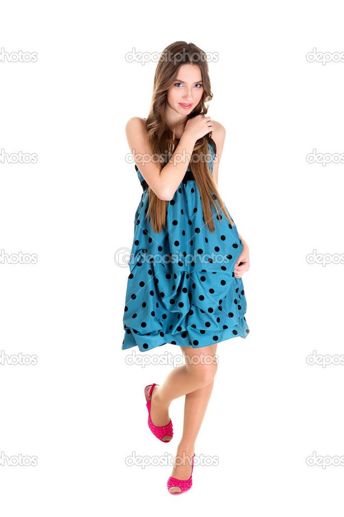 Vestido azul a lunares