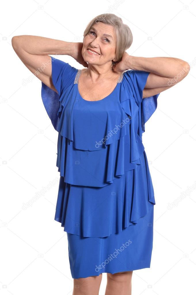 Mayor Sonriente Sobre Fondo Blanco Elegante Vestido Mujer Feliz q7fRzf