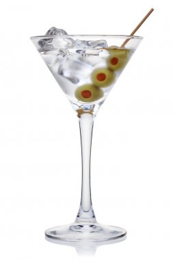 Martini with olives and ice cubes.