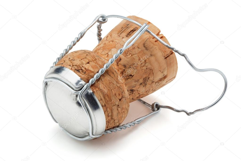 Cork from champagne bottle, isolated on the white background, clipping path included.