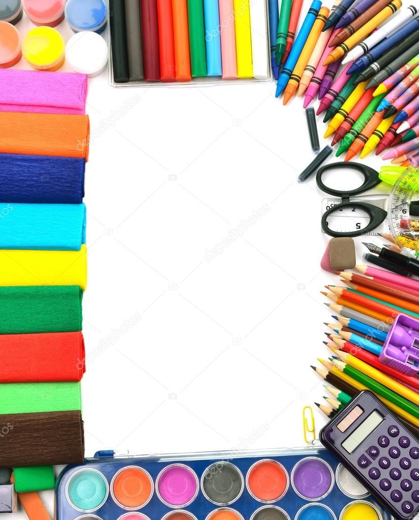 Elegant School And Office Supplies Frame U2014 Stock Photo #12439957