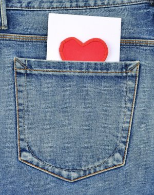 Back pocket of jeans with card