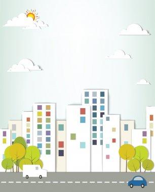 Urban landscape. creative vector applique. clip art vector