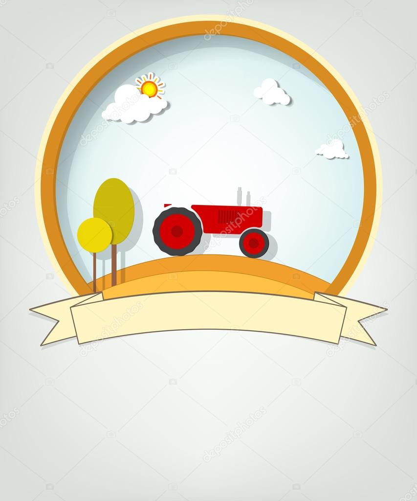 Emblem with tractor
