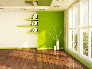 Interior design scene with a big window,