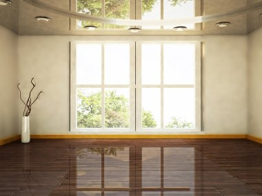 A big window and a vase