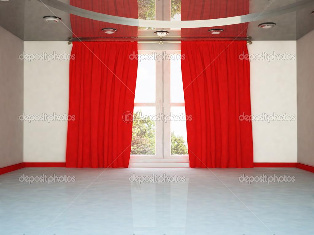 Een groot raam en het rood gordijn u stockfoto minerva