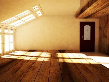 an empty attic  with the window
