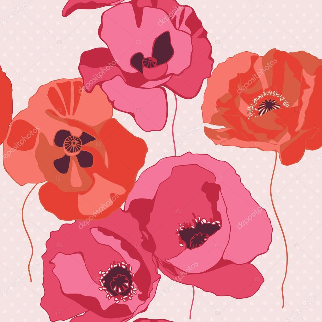 Seamless background with poppies flower