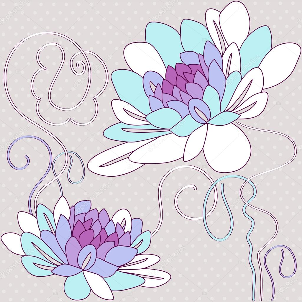 Vector illustration with lilly, dahlia, iris and roses.