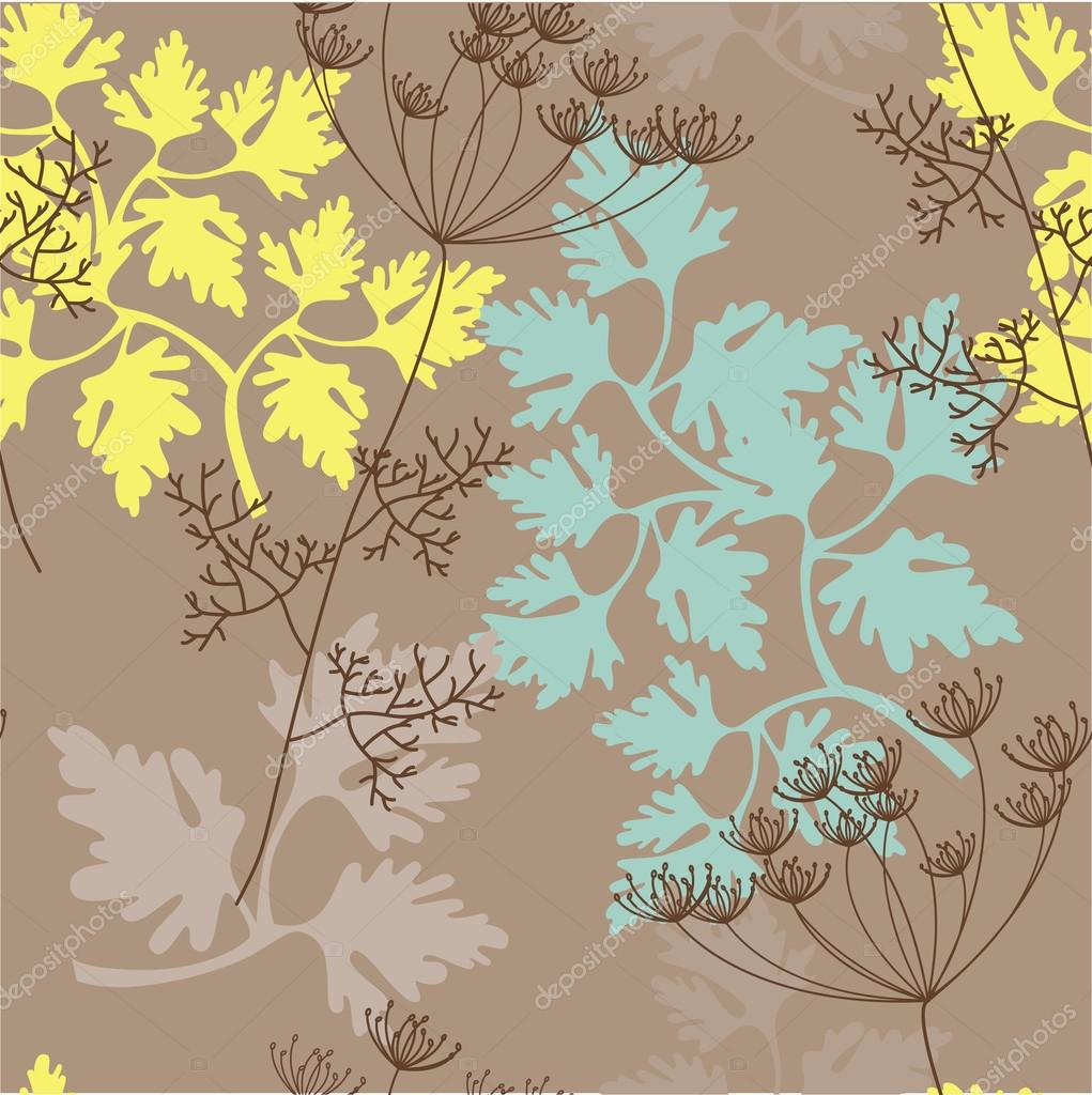 Seamless pattern with herbs silhouettes