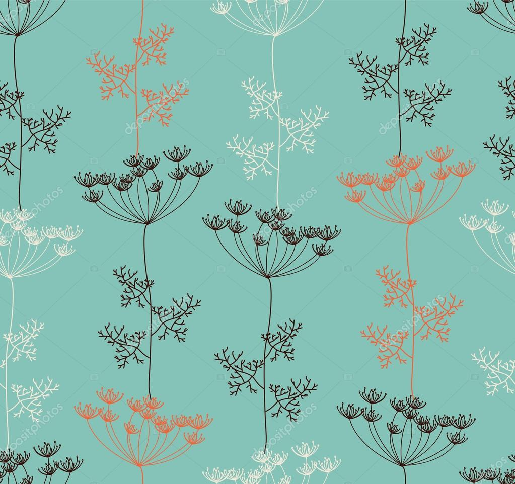 Seamless pattern with decorative dill plant