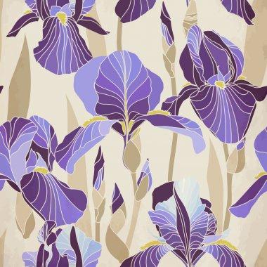Decorative lilac iris flower retro colors.