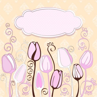 Decorative tulip flowers and place for your text.