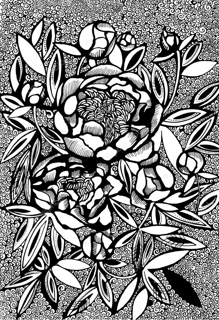 Artistic peony flowers on ornamental background.