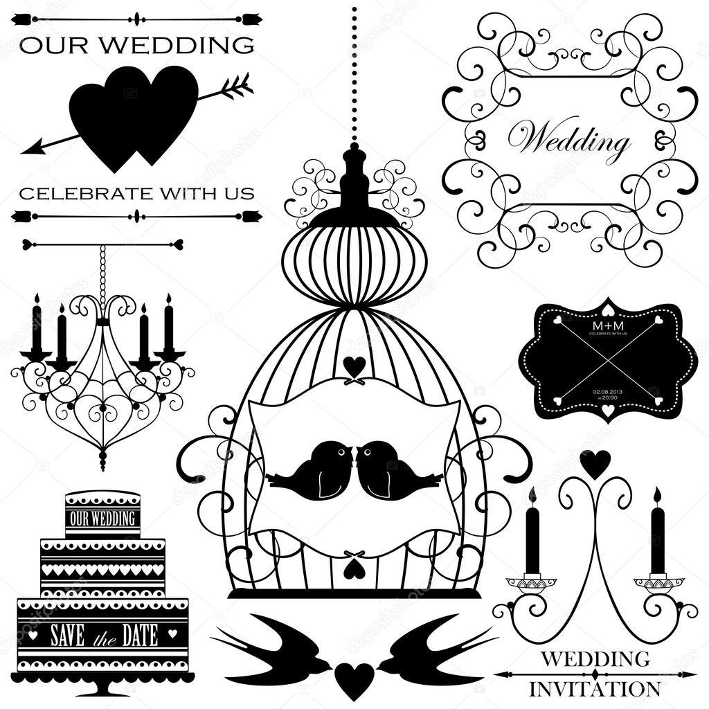 Vector set of wedding design elements for wedding card or invitation