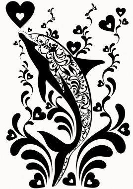 Ornamental dolphins with decorative flourish elements on white background