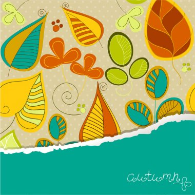 Seamless pattern with autumn leaf and place for your text